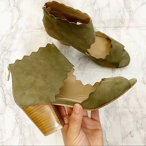 Anthropologie Green Suede Scalloped Heels 7.5